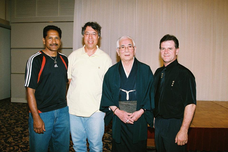 Vassie Naidoo, Des Tuck and Glenn Stephenson with Shuji Tasaki Hanshi